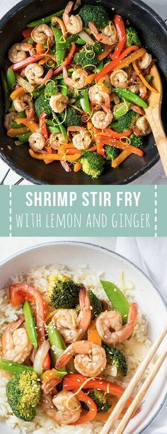 Shrimp Stir Fry with Lemon and Ginger is a simple yet healthy meal for any day o… – Seafood Recipes - Fish Recipes Stir Fry Recipes, Fish Recipes, Vegetable Recipes, Seafood Recipes, Cooking Recipes, Vegetable Dish, Simple Shrimp Recipes, Shrimp Vegetable Stir Fry, Chinese Shrimp Recipes