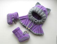 Купить К-т Милый котенок (шапочка-шлем с ушками+пинетки-сапожки) - абстрактный, чепчик для новорожденного