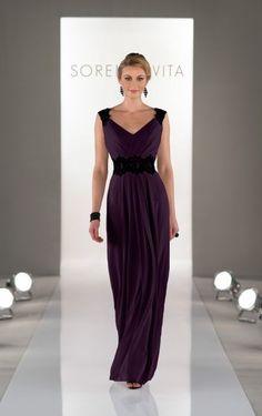 327eb4901dd Full length plum bridesmaid dresses feature Chiffon with a ruched bodice  and V-neckline. Exclusive designer bridesmaid dresses by Sorella Vita.