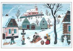 Josef Lada / Co přináší zima (recenze) Artist Names, Winter Scenes, Cottage Chic, Four Seasons, Illustrators, Folk Art, Christmas Cards, Illustration Art, Clip Art