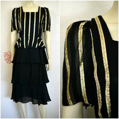 Vintage 80s Dress | Tiered Ruffle Dress | Black Peplum Dress | Black & Gold Dress | Black Midi Dress | Ladies Evening Dress | Ruffle Dress by RubyVintageBoutique on Etsy https://www.etsy.com/listing/524652882/vintage-80s-dress-tiered-ruffle-dress