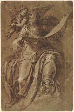 Niccolò Trometta ca. Saint Matthew, Seated, with Angel, and Two Small Sketches of a Figure Holding a Scroll, Drapery Drawing, White Gouache, Saint Matthew, Drawing Studies, Grisaille, Gothic Art, Art Object, Black And Grey Tattoos, Brown And Grey