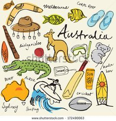 Collection of Australia doodle vector illustrations - stock vector