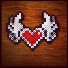 Heart with wings perler beads by bhartdesigns