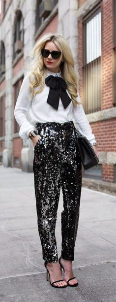 Standout at your holiday party this season with a pair of sparkling pants! This style is instant cool and chic! Where would you wear this look? How would you style these pants?