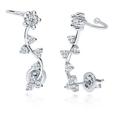 BERRICLE Sterling Silver Cubic Zirconia CZ Flower Fashion Ear Cuffs * For more information, visit image link.