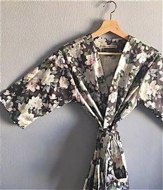 White Grey Charcoal Black Bridesmaid Robes. by ModernKimonoRobes