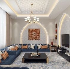 Definitive Proof That Gray Living Rooms Make a Striking Statement – Home Design Ceiling Design Living Room, Home Room Design, Home Design Decor, Home Interior Design, Living Room Designs, Living Room Decor, Arabic Decor, Floor Seating, Home Decor Furniture