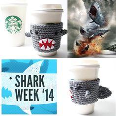 #sharkweek, #sharknado, #coffeecozy, #starbucks, #drinksleeve, #crochet #msamandajayne $15