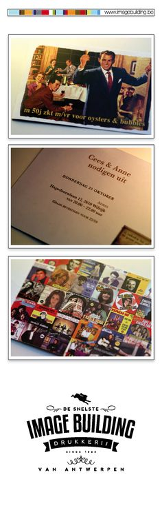 Ontwerp en druk uitnodiging privéfeest trouwverjaardag volgens thema '50's'. #imagebuildingnv #desnelstedrukkerijvanantwerpen #uitnodiging #graphicdesign #grafisch #ontwerp #opmaak #drukwerk
