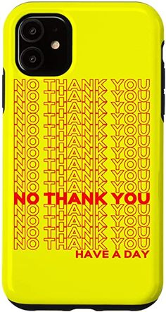 Amazon.com: iPhone 11 Yellow No Thank You , Thank You Bag Style Lightweight IPhone Case Buy Iphone, Iphone 11, Iphone Cases, Phone Background Wallpaper, Iphone Wallpaper, Thank You Bags, Cute Family, Summer Accessories, Aesthetic Design