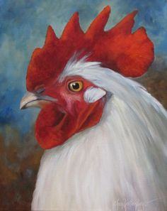 Animal Painting, White Rooster Head, 16x20x1.5 Canvas Original, Oil Painting by Cheri Wollenberg by OilPaintingsByCheri on Etsy