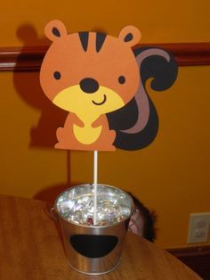 Squirrel Birthday Party Centerpiece by JLMpartyshop on Etsy, $5.00