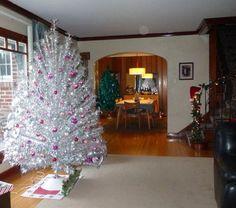 20 silver Christmas trees aluminum christmas tree purple tree ornaments