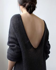 Open back charcoal sweater