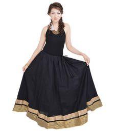 Buy Rajasthani Ethnic Black Cotton Long Skirt skirt online