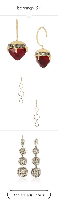 """Earrings 31"" by coollavinia ❤ liked on Polyvore featuring jewelry, earrings, ruby, betsey johnson jewellery, hook earrings, betsey johnson, betsey johnson jewelry, drop earrings, isabel marant jewelry and gold tone jewelry"