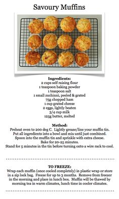 This recipe could be adapted by adding stronger cheese, onion, herbs. All to individual taste. Savory Cupcakes, Savory Muffins, Savory Snacks, Healthy Snacks, Cheese Muffins, Savoury Recipes, Mini Muffins, Bread Recipes, Lunch Box Recipes