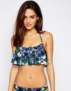 ASOS Lily Floral Print Floaty Crop Bikini Top