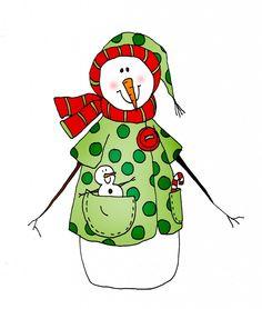 Snowman Dots color   Dearie Dolls Digi Stamps