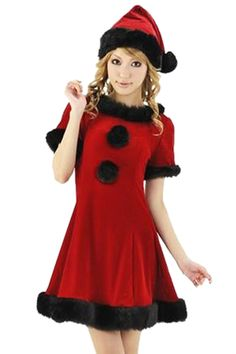 Red Modern Womens Christmas Little Red Riding Hood Santa Costume pinkqueen.com