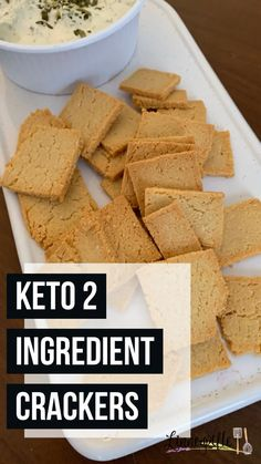 These keto crackers are made with only two ingredients! Super simple way to get that cracker crunch you miss on a low carb diet. Healthy Crackers, Low Carb Crackers, Easy Pasta Recipes, Low Carb Recipes, Cooking Recipes, Healthy Recipes, Low Glycemic Diet, Low Carb Diet, Coconut Flour Bread