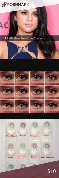 "1 Pair FreshLook Gray Colored Contacts 1 Pair Reusable  2 pair =$18  3Pair = $27  ""FreshLook Colorblends contact lenses offer a wide palette of beautiful colors to enhance your eye color in a natural way.   Non Prescription. Cosmetic Only.   Expiration: 2020-03 Diameter: 14.5 Price per box: 1 box = 1 pair Shipping: Same day or Next day  Available colors:  Blue, Brilliant Blue, turquoise, true Sapphire, green, gemstone Green, pure Hazel,honey, Gray, Sterling Gray Nike, Victoria Secret Makeup"