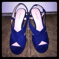 "Nine West Royal Blue Heels Nine West Royal blue suede heels. NWOT. 7.5 and a 5"" heel. No box. Nine West Shoes Heels"