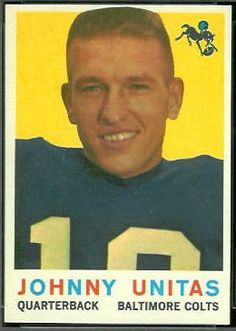 football cards unitas | John Unitas - 1959 Topps #1 - Vintage Football Card Gallery Football Cards, Nfl Football, College Football, Baltimore Colts, Pittsburgh Steelers, Johnny Unitas, American Football Players, Nfl History, Football Conference