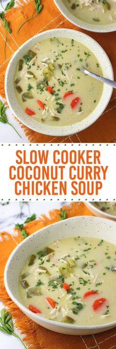 Thai-inspired Slow Cooker Coconut Curry Chicken Soup. Love crock pot soup recipes!