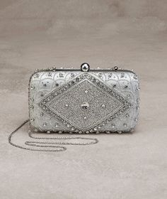 Pronovias > The Jazmin satin and gemstone evening bag, perfect for parties Bridal Accessories, Bag Accessories, Pronovias, Color Plata, Beaded Purses, Vintage Bags, Evening Bags, Elegant, Clutch Bag