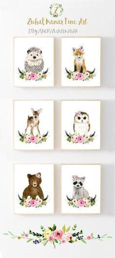Flower Crown Baby Woodland AnimalsSET OF 6 PRINTS Animals Print Set Racoon Hedgehog Fox Deerowlbear Nursery Prints
