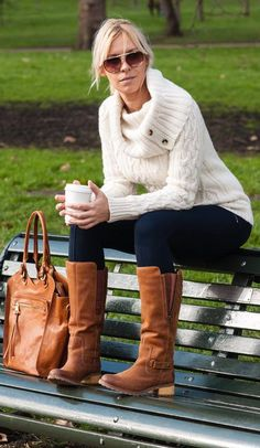 CARAMEL BAG & BOOTS and that sweater looks cozy.
