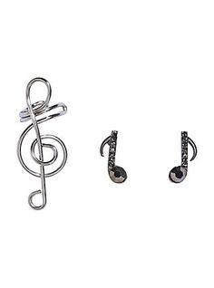 Blackheart Music Note Earrings Treble Clef Cuff