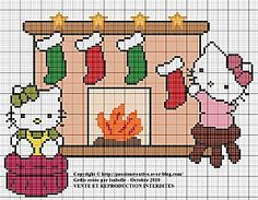 Free Christmas Hello Kitty Perler Bead or Cross Stitch Chart (click on photo for chart)