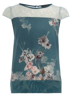 Teal blossom print top