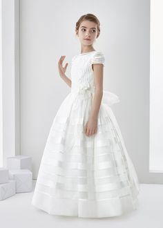 Nectarean Ball Gown Short Sleeve Hand Made Flowers Floor-length Communion Dresses