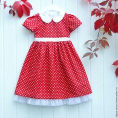 """Платье для девочки""""Маленькая леди"""" - ярко-красный, в горошек, платье для девочки, Платье нарядное"""