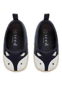 Baby fox shoe from Seed Heritage. Featuring fox face with whiskers and pointed ears. Synthetic upper, lining and sole.
