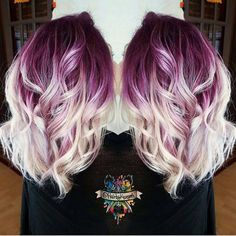 Plum purple hair color base with billowy white blonde hair by @hairbykasey instagram.com/hotonbeauty