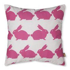 Anorak Rabbit Decorative Pillow - Pink/White (18x18