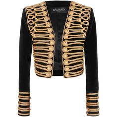 Balmain Cropped embellished velvet jacket (€4.375) ❤ liked on Polyvore featuring outerwear, jackets, balmain, tops, embellished jacket, button jacket, slim jacket, cropped jacket and woven jacket