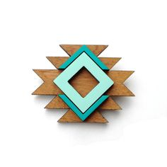Tribal geometric wood brooch in mint and emerald por corejewellery, $25.00