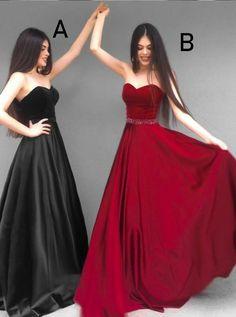 A line strapless burgundy / black prom dress , fashion prom gown Black Prom Dresses, Formal Evening Dresses, Homecoming Dresses, Evening Gowns, Strapless Dress Formal, Bridesmaid Dresses, Wedding Dresses, Party Dresses, Tumbrl Girls