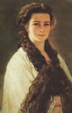 Sisi, as a young woman, this portrait stood in Franz Joseph study room. It's very unique due to her wearing her hair down. Painted by Franz Xaver Winterhalter.