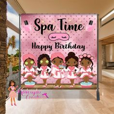 Spa Birthday Backdrop, SpaThemed CandyTable Backdrop, Photo Backdrop, Step and Repeat Girls Pamper Party, Spa Day Party, Slumber Party Birthday, Kids Spa Party, Sleepover Birthday Parties, 5th Birthday Party Ideas, Girl Birthday, Paris Birthday, Bachelorette Parties