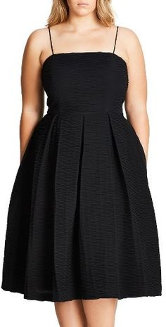 Plus Size Women's City Chic Textured Treat Fit & Flare Dress