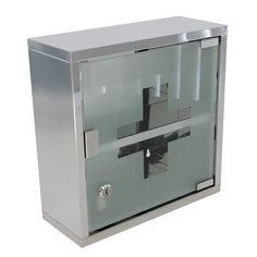 Organise your medicine and keep it safe with the Medicine Cupboard. The Medicine Cupboard can lock, has a shelf and is made of stainless steel.