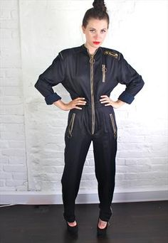 Vintage 80's Racer Jumpsuit Bodycon Jumpsuit, Playsuit Romper, Overalls Vintage, Leotard Tops, Wide Trousers, Jumpsuits For Women, Rompers Women, Overalls Women, Suits