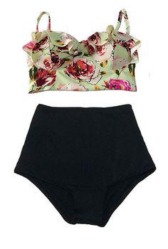Green Pastel Rose Top and Black High Waist Waisted Bikini Bikinis 2PC Swimsuit Swimwear Swimming Swim dress Sailor Bathing suit suits S M L on Etsy, $39.99